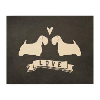 Impresión En Madera Amor de las siluetas de Sealyham Terrier