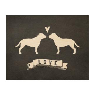 Impresión En Madera Amor de las siluetas de Staffordshire bull terrier