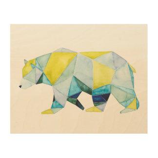 Impresión En Madera Animal geométrico del oso