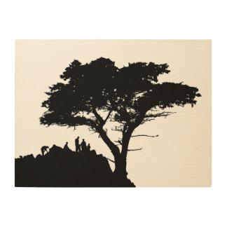 Impresión En Madera ÁRBOL de FAMILIA del vintage del árbol de la
