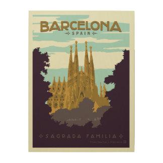 Impresión En Madera Barcelona, España - Sagrada Familia