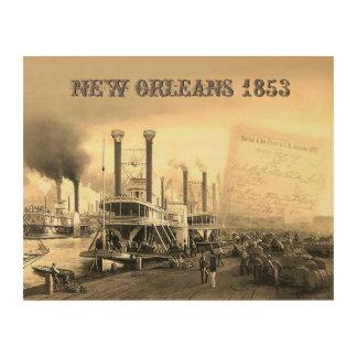 Impresión En Madera Barco de vapor de New Orleans