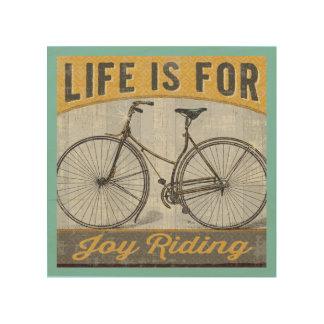 Impresión En Madera Bici del vintage con cita