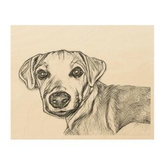 Impresión En Madera Bosquejo del terrier de Jack Russell de los