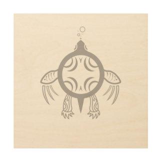 Impresión En Madera Burbujas de la tortuga de mar