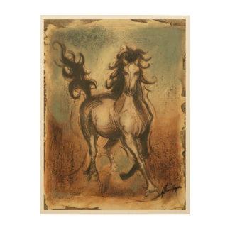 Impresión En Madera Caballo salvaje y colores calientes