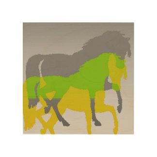 Impresión En Madera caballos