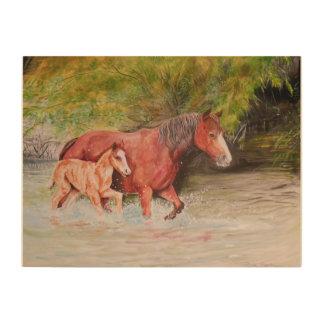 Impresión En Madera Caballos salvajes del río Salt