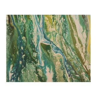 Impresión En Madera Cascada azulverde abstracta colorida de la