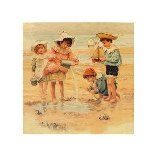 Impresión En Madera Castillos de arena de la costa de la playa de los