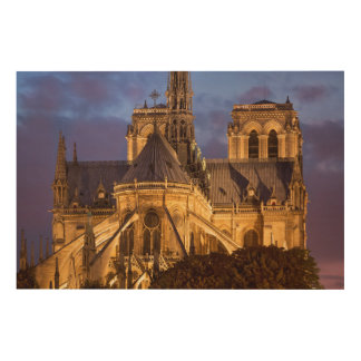 Impresión En Madera Catedral de Notre Dame en la noche
