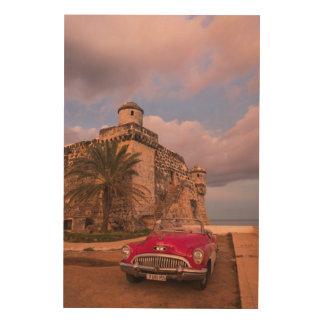 Impresión En Madera Coche clásico rojo, Cuba