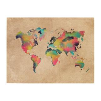 Impresión En Madera colores del mapa del mundo