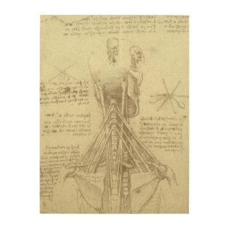 Impresión En Madera Columna espinal de la anatomía humana de Leonardo