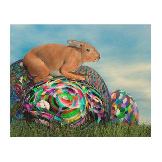 Impresión En Madera Conejo en su huevo colorido para Pascua - 3D