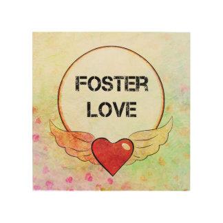 Impresión En Madera Corazón adoptivo de la acuarela del amor