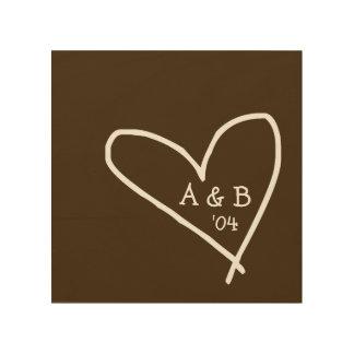 Impresión En Madera Corazón tallado con la lona de madera de las