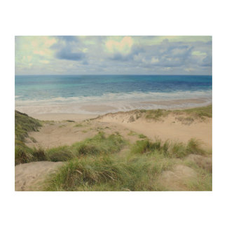 Impresión En Madera Cornualles Penhale enarena la playa Perranporth