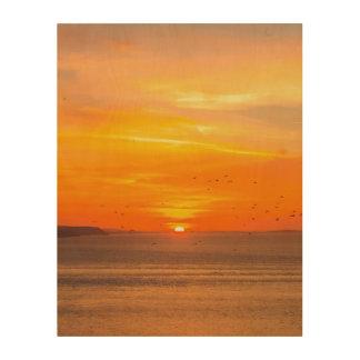 Impresión En Madera Costa de la puesta del sol con Sun anaranjado y