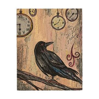 Impresión En Madera Cuervo y relojes de Steampunk