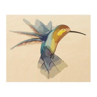 Impresión En Madera dibujo hermoso pacífico de la acuarela del colibrí