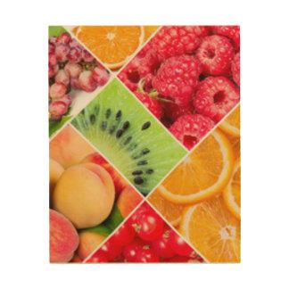 Impresión En Madera Diseño colorido del modelo del collage de la fruta