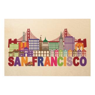 Impresión En Madera Diseño de la tipografía de San Francisco,