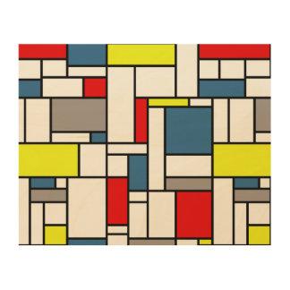 Impresión En Madera Diseño del estilo de Mondrian