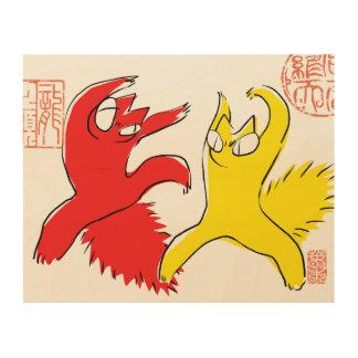 Impresión En Madera Ejemplo divertido cómico del asiático del gato de