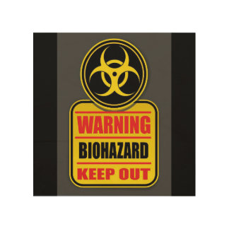 Impresión En Madera El Biohazard amonestador guarda hacia fuera la