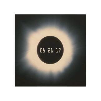Impresión En Madera En agosto de 2017 eclipse solar total en blanco y