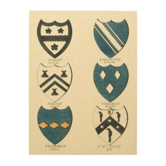 Impresión En Madera Escudos de la familia de diversas casas inglesas