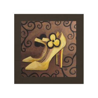 Impresión En Madera Estoy en amor con mis zapatos amarillos