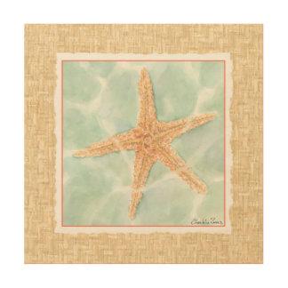 Impresión En Madera Estrellas de mar náuticas en agua