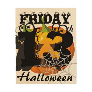 Impresión En Madera feliz Halloween #3