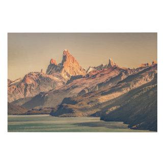 Impresión En Madera Fitz Roy y montañas de Poincenot los Andes -