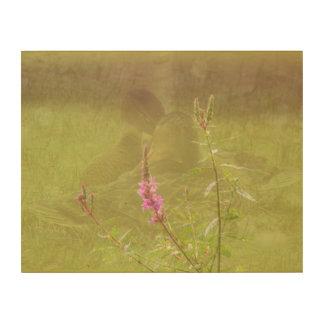 Impresión En Madera Flor rosada Snuggling de los patos