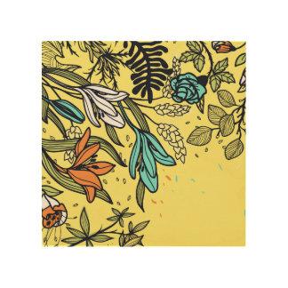 Impresión En Madera Flores retras en blanco, trullo y melocotón