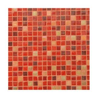 Impresión En Madera Fondo rojo de teja de mosaico