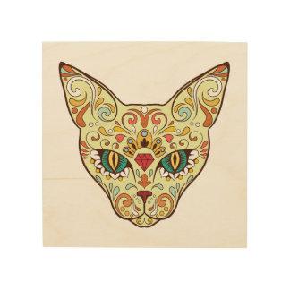 Impresión En Madera Gato del cráneo del azúcar - diseño del tatuaje