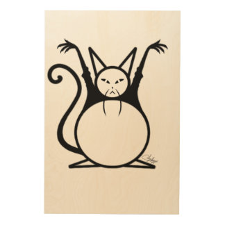 Impresión En Madera Gato principal gordo