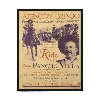Impresión En Madera General mexicano Pancho Villa del héroe