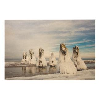 Impresión En Madera Groynes en la costa de mar Báltico