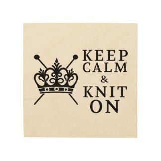 Impresión En Madera Guarde la calma y haga punto encendido • Haga el