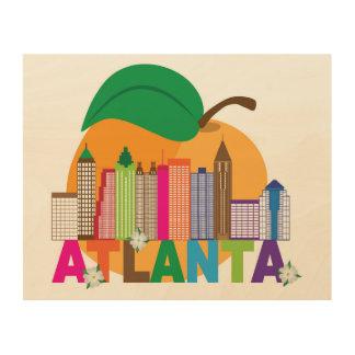 Impresión En Madera Horizonte del melocotón de Atlanta, Georgia el |