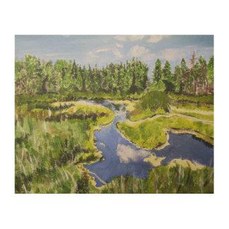 Impresión En Madera Humedal vibrante del bosque