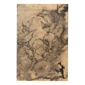 Impresión En Madera I floral tatuado