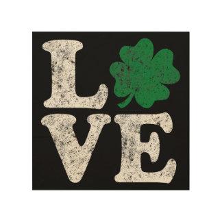 Impresión En Madera Irlandés del trébol del AMOR del día de St Patrick