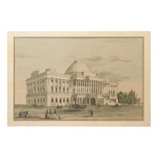 Impresión En Madera La Casa Blanca, capitolio en la litografía de