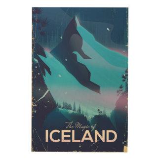 Impresión En Madera La magia del poster del viaje de Islandia